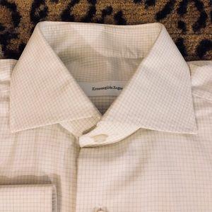 Ermenegildo Zegna White w/ Tan Check Shirt 15.5